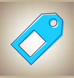 price tag sign sky blue icon with vector image