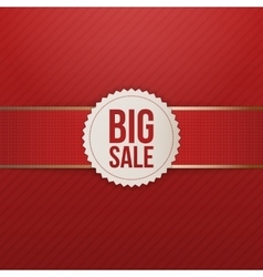 Realistic Christmas big Sale Tag with red Ribbon vector image