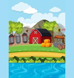 Red barn and silos on the farm vector