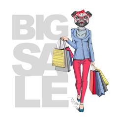 retro hipster animal girl pug dog big sale vector image