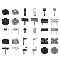 road junctions and signs blackmonochrome icons in vector image