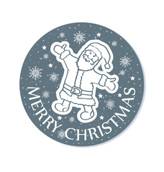 Round christmas greeting card santa grey vector