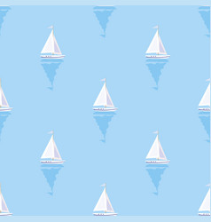 seamless summer sea pattern with sailing ships vector image