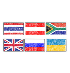 set flags of the world icon in cartoon scribble vector image vector image