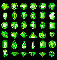 Set green emerald gemstones different cuts vector