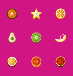 set of 9 editable berry flat icons includes vector image