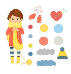 set of accessories for knittingcheerful woman vector image