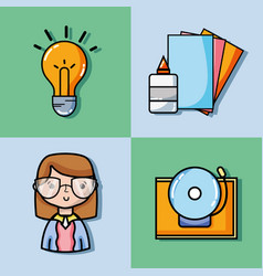 Set school tools education to learn vector