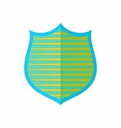 Shield with yellow stripes icon flat style vector