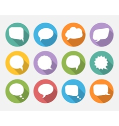 speech bubbles with long shadow in flat design vector image