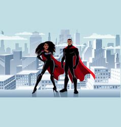 superhero couple black city winter vector image