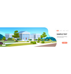 Supreme court building with columns government vector