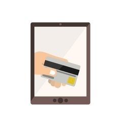 Tablet with display with credit card in hand vector