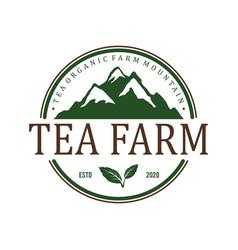 Tea plant farm mountain badge vintage logo design vector