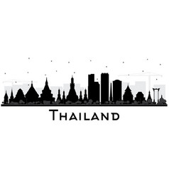 Thailand city skyline silhouette with black vector