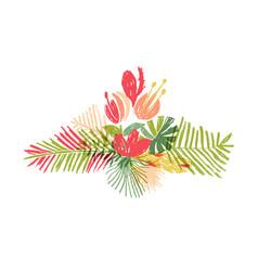 Tropical flower leaf bouquet tropic paradise vector