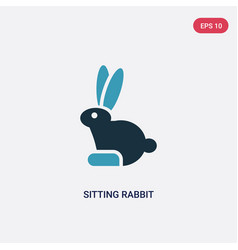 two color sitting rabbit icon from animals vector image