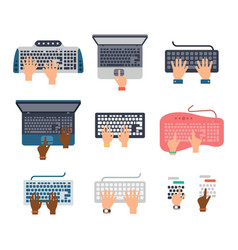 users hands on keyboard and mouse computer vector image