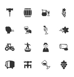 vineyard and wine icons set vector image