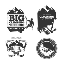 Vintage mountain climbing logo and labels vector