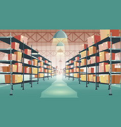 Warehouse interior with cardboard boxes on shelves vector