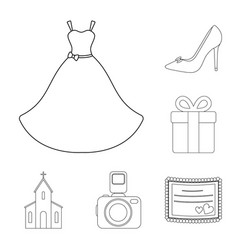 Wedding and attributes outline icons in set vector