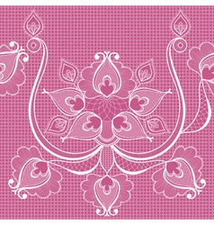 White lace on pink seamlees pattern for vintage vector