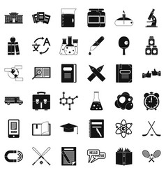 college icons set simple style vector image vector image