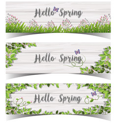 hello spring sign with flowers and butterfly vector image vector image