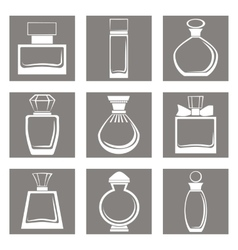isolated perfume bottles icons set vector image vector image