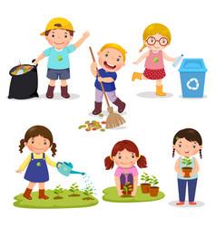 set of cute kids volunteers vector image