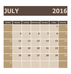 Calendar July 2016 week starts from Sunday vector image