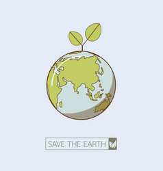eco earth in retro style vector image vector image