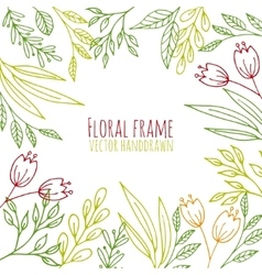 Floral frame with hand drawn flowers and plants vector image vector image