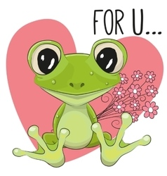 Froggy with flowers vector image vector image