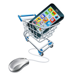 phone mouse trolley concept vector image vector image