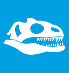 skull of dinosaur icon white vector image