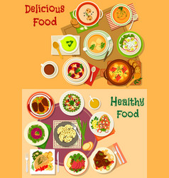 soup salad and meat dishes icon set design vector image vector image