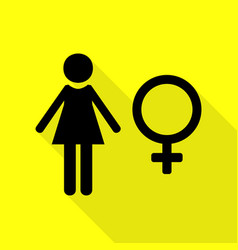 female sign black icon with flat vector image vector image