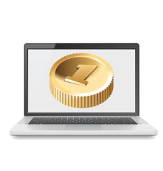 Laptop and golden coin vector image