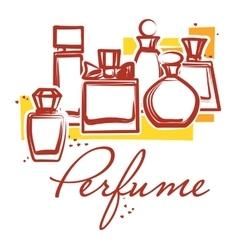 Set of hand drawn perfume bottles vector image vector image