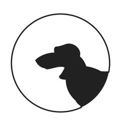 Silhouette of a dog head dachshund vector