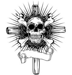 skull cross vector image vector image