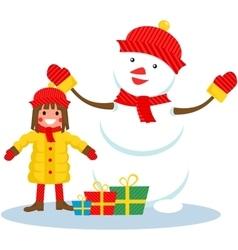 girl and snowman Christmas vector image