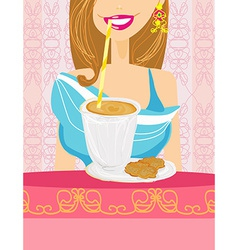 Girl is drinking delicious coffee frappe drink vector image