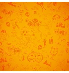 Halloween seamless bright kids doodle pattern vector image vector image