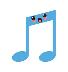 kawaii note music melody sound button web icon vector image