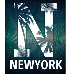 new york typography with floral t shirt graphic vector image vector image