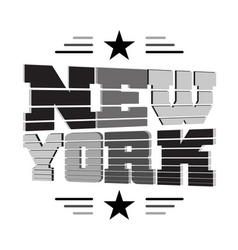 T shirt New York black gray white star vector image vector image