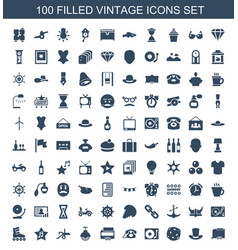 100 vintage icons vector